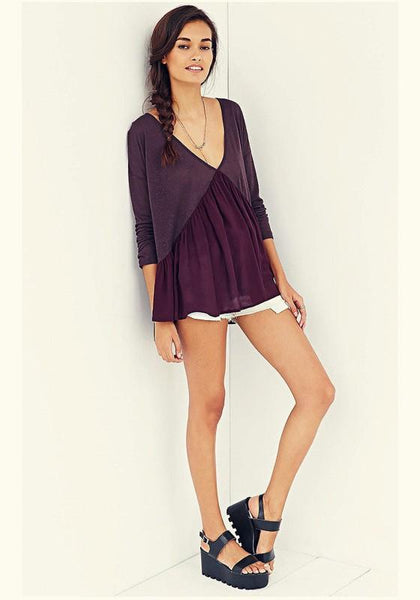 Purple Patchwork Ruffle Plunging Neckline Long Sleeve Casual T-Shirt