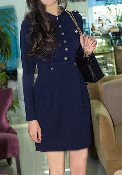 Navy Blue Pleated Buttons Pockets OL Turndown Collar Long Sleeve Midi Dress