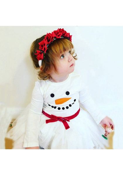 White Snowflake Print Grenadine Bow Fluffy Puffy Tulle Christmas Cute Baby Midi Dress