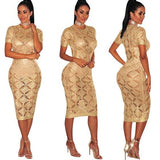 ByChicStyle Golden Plaid Cut Out Round Neck Short Sleeve Midi Dress