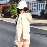 ByChicStyle Khaki Long Sleeve Round Neck Fashion Hooded Sweatshirt