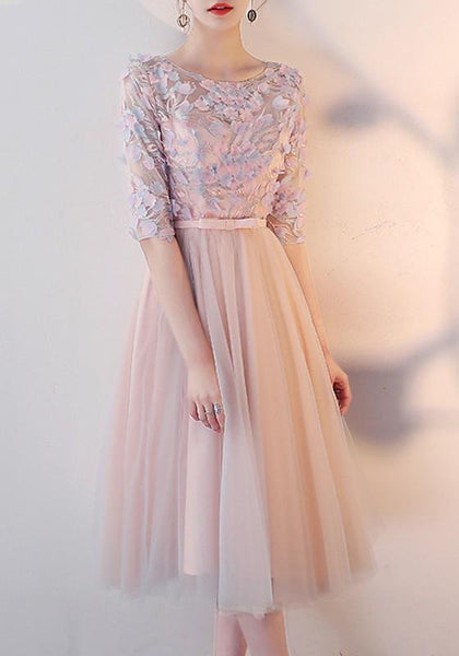 Pink Patchwork Lace Ruffle Tie Back Round Neck Elbow Sleeve Sweet Midi Dress
