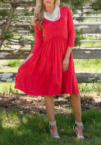 Red Draped 3/4 Sleeve High Waisted Elegant Party Midi Dress