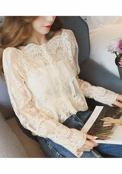 Apricot Cut Out Lace Round Neck Long Sleeve Blouse