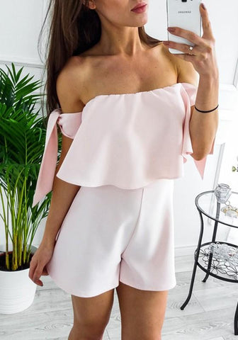 Pink Ruffle Off Shoulder Fashion Short Summer Rompers Jumpsuits