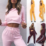 ByChicStyle New 2018 2Pcs Women Ladies Tracksuit Crop Hoodies Sweatshirt Pants Sets Leisure Wear Casual Suit