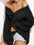 ByChicStyle Off Shoulder V-neck Solid Color Sweater Tops