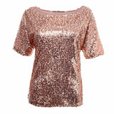 ByChicStyle Women Sexy Loose Off Shoulder Sequin Glitter Blouses Vintage Streetwear Party Tops