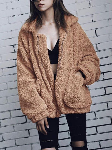 Elegant Faux Fur Coat Women Autumn Winter Warm Soft Zipper Fur Jacket Female Plush Overcoat Pocket Casual Teddy Outwear