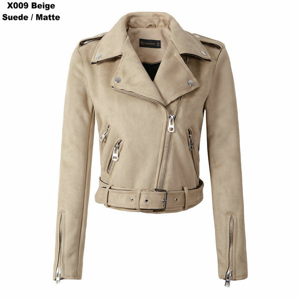 Women Autumn Winter Suede Faux Leather Jackets Lady Fashion Matte Motorcycle Coat