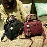 ByChicStyle women handbags, simple fashion flap, trend tassel woman messenger bag, Korean version shoulder bag.
