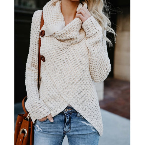 Winter Women Knit Sweater Buttons Loose Cardigan Coat Warm High Collar Irregular Sweater