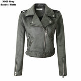 ByChicStyle Women Autumn Winter Suede Faux Leather Jackets Lady Fashion Matte Motorcycle Coat
