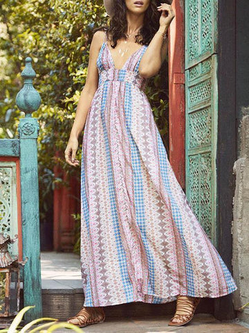 Bohemia Printed V-Neck Backless Dresses