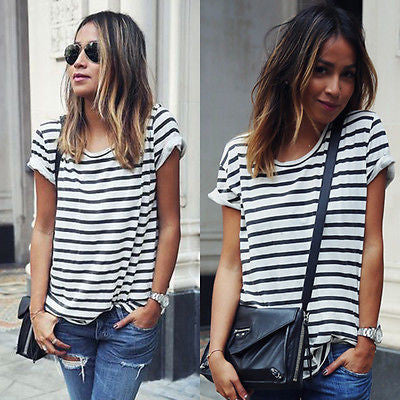 Casual New Summer Women Tops O-Neck T-Shirt Short Sleeve Striped T Shirts