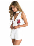 ByChicStyle Summer Elegant Floral V Neck Sleeveless Beach Playsuit Jumpsuits Rompers