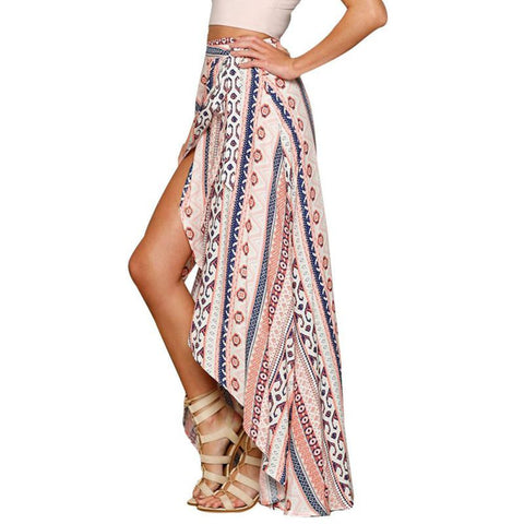 Casual Summer Vintage Boho High Waist Floral Printed Long Beach Maxi Skirts