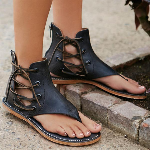 Shoes - New Fashion Women Leisure Lace up Flat Sandals