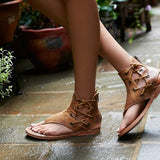 ByChicStyle Shoes - New Fashion Women Leisure Lace up Flat Sandals