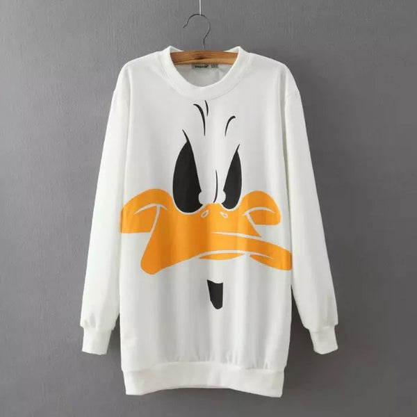 Casual Black Cartoon Print Knit Pullover Sweater
