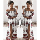 ByChicStyle Casual Fashion Bateau Off Shoulder Floral Print Dress
