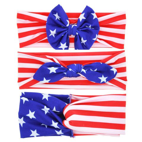4th July Girls Stripe and Stars Top Messy Bow Knot Headbands Red White Blue