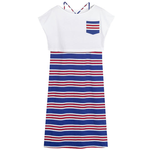 Streetstyle  Casual Naval Wind Two Pieces Blue and White Stripe Dresses
