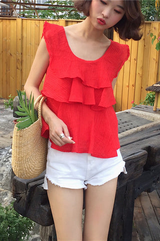 Summer Solid Color Ruffled Wild Chiffon Blouse Top
