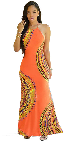 Casual Orange Plain Print Halter Backless Sleeveless Fashion Maxi Dress