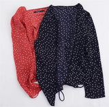 ByChicStyle Casual Retro French style sexy V-necked small star shirt