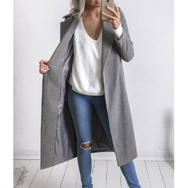 5 Colors Women Autumn Winter Long Sleeve Pockets Women Coat Casual Jackets Slim Overcoat Outwear