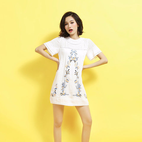 Summer Hollow Out Lace Floral Embroidery Round Neck Short Sleeves Dress - Bychicstyle.com