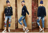 ByChicStyle Casual Navy Blue Patchwork Sailboats Embroidery Pullover Sweater