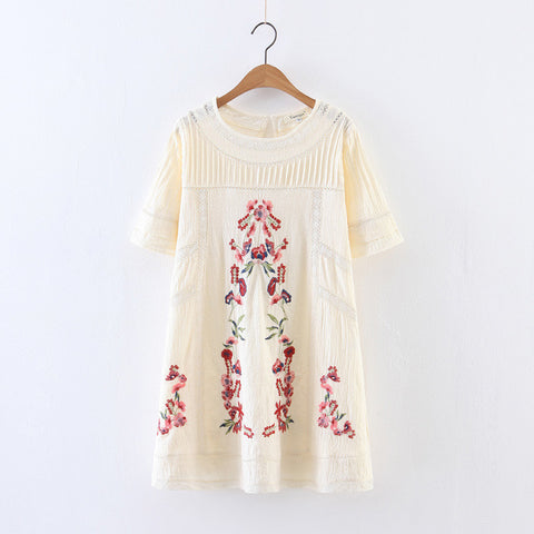 Summer Hollow Lace Embroidery Floral Short O-Neck Sleeves Dress - Bychicstyle.com