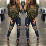 ByChicStyle Fashion Tops V-Neck Camouflage T-Shirts Crop Top - Bychicstyle.com
