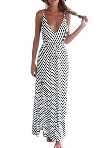 Casual Sexy Deep V Plunge Monochrome Striped Maxi Dress