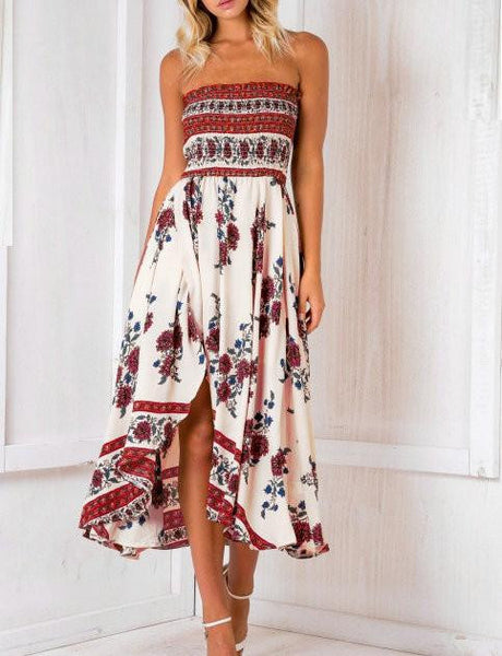 Casual Fashion Boho Bandeau Floral Print Dress