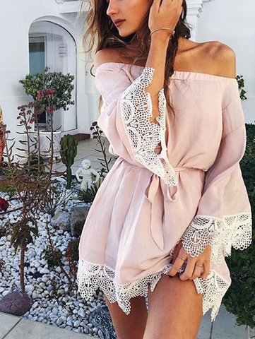 Casual Lace Me Lovely Pink Solid Dress