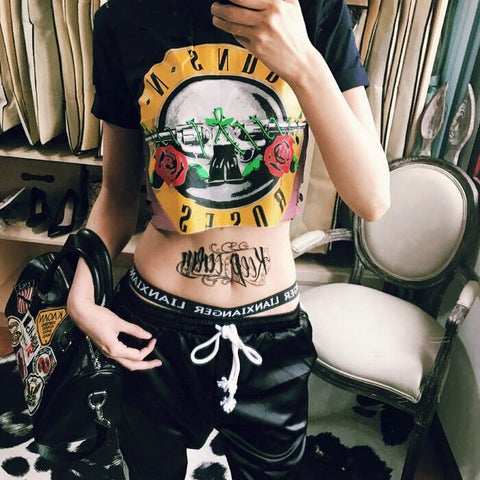Graffiti Printing Hollow Holes Punk Hippie Short Sleeves T-shirt - Bychicstyle.com