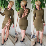 ByChicStyle Casual Army Green Cross Back Hollow-out Open Back Long Sleeve Club Bodycon Mini Dress