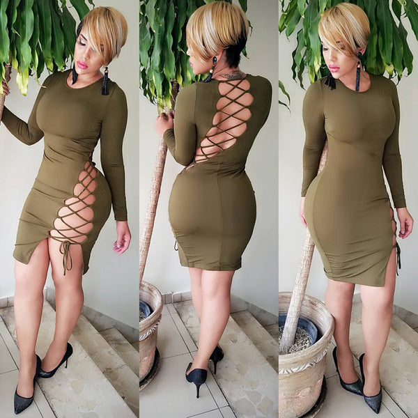 Casual Army Green Cross Back Hollow-out Open Back Long Sleeve Club Bodycon Mini Dress