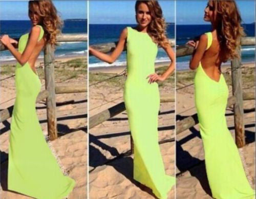 Casual Green Backless Round Neck Sleeveless Fashion Maxi Dress