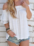 ByChicStyle Casual Cute Solid Color Bateau Off The Shoulder Top