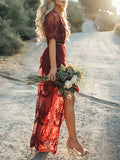ByChicStyle Casual Ecstatic Burning Lace Floral Print Maxi Ruby Cover Up
