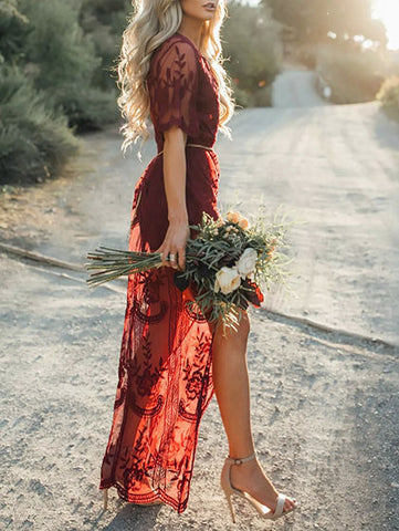 Casual Ecstatic Burning Lace Floral Print Maxi Ruby Cover Up