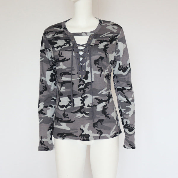 Fashion Tops V-Neck Camouflage T-Shirts Crop Top - Bychicstyle.com