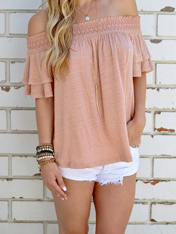 Casual Cute Solid Color Bateau Off The Shoulder Top