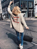 ByChicStyle Apricot THANKS FOR NOTHING Embroidery Long Sleeve Oversize Casual Cardigan Sweater