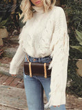 ByChicStyle Tassel White Winter Sweater Casual Loose Chic Jumper Grey Turtleneck Autumn Pullover Oversize Sweater Mujer
