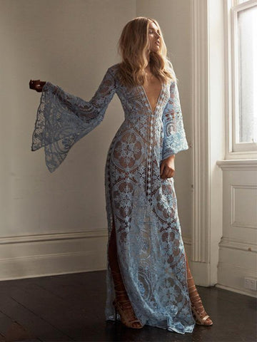 Flared Sleeves Lace Maxi Dress